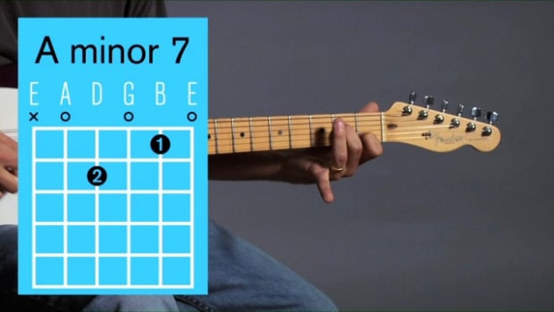 ZZZZQ. How to Play an A Minor 7 Barre Chord on Guitar Promo Image