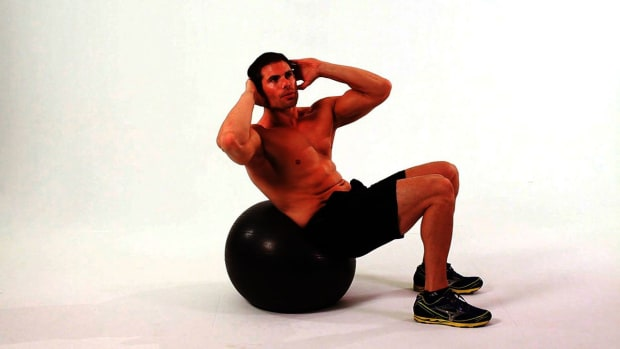 ZG. How to Do Swiss Oblique Crunch on Exercise Ball Promo Image