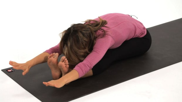 D. How to Stretch Safely in Yoga (Paschimottanasana) Promo Image
