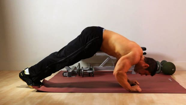 E. How to Do a Downward Dog Push-Up for an Arm Workout Promo Image