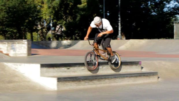 X. How to Do a 180 to Double Peg Grind on a BMX Promo Image