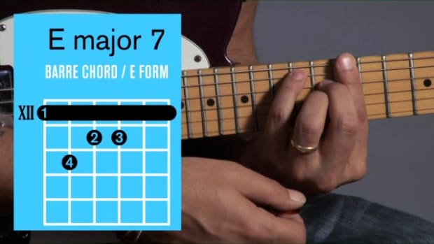 ZZZZZG. How to Play an E Major 7 Barre Chord on Guitar Promo Image