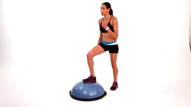 ZA. How to Do a Bosu Ball Power Knee Exercise Promo Image