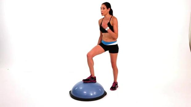 ZA. How to Do a Bosu Ball Power Knee Exercise Promo Image