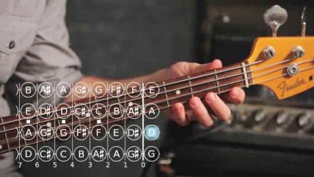 ZZZT. How to Play a D Minor Triad on Bass Guitar Promo Image