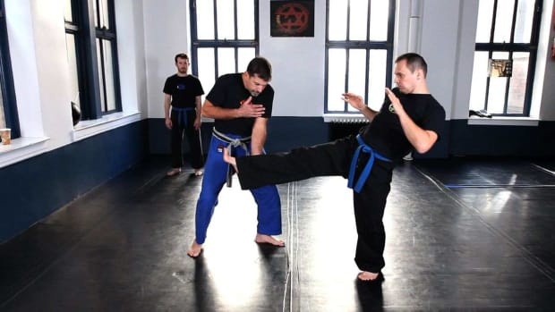 F. How to Do a Krav Maga Inside Defense against a Kick Promo Image