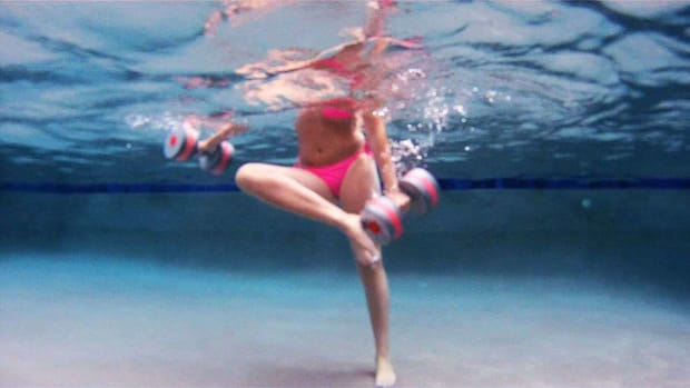 X. How to Do a Water Aerobics Touch Foot Front & Back Move Promo Image