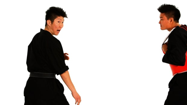 ZG. How to Do a Step Forward Step Back & Back Kick in Taekwondo Promo Image