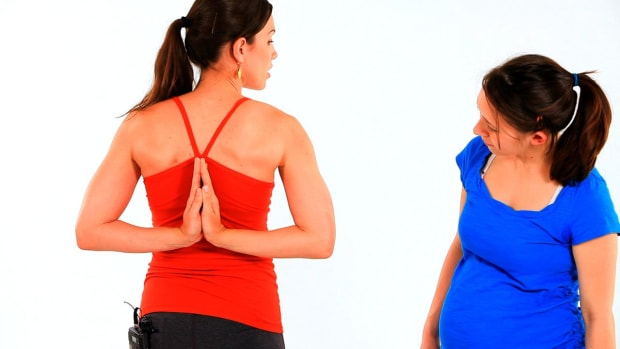ZC. How to Do the Clasp Hand Behind Back Prenatal Yoga Pose Promo Image