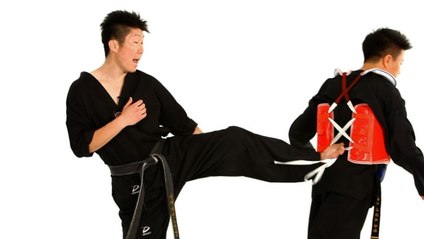 ZJ. How to Do the Defense against Back Kick 2 in Taekwondo Promo Image