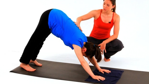 W. How to Do Prenatal Yoga Downward Dog for a Pregnancy Workout Promo Image