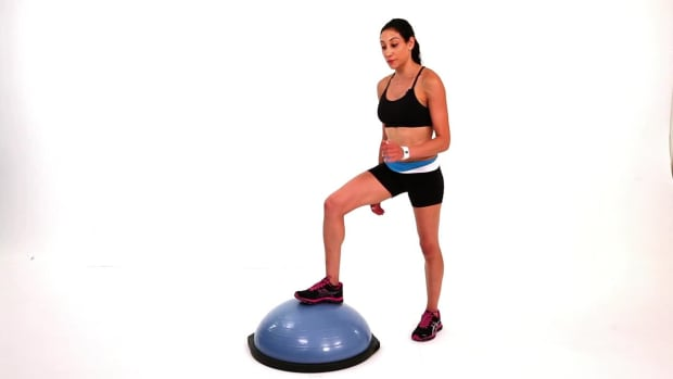 ZB. How to Do a Bosu Ball Knee-Repeater Exercise Promo Image