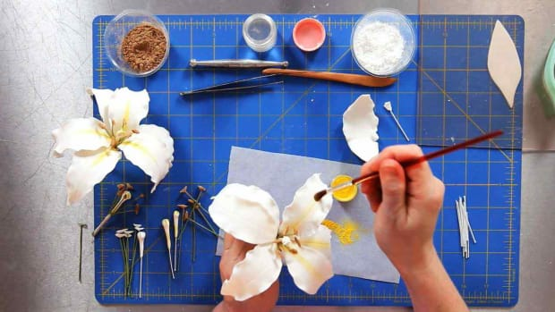 N. How to Assemble a Casablanca Lily Sugar Paste Flower Promo Image