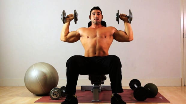 ZG. How to Do a Seated Overhead Dumbbell Press for Arm Workout Promo Image