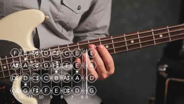ZZZJ. How to Play an F Major Triad on the Bass Guitar Promo Image