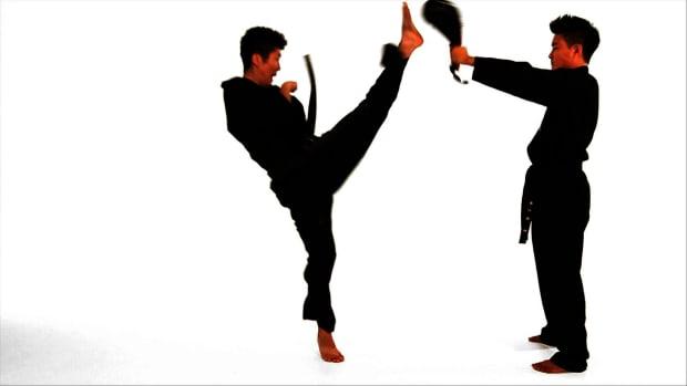 J. How to Do a Jump Front Kick in Taekwondo Promo Image
