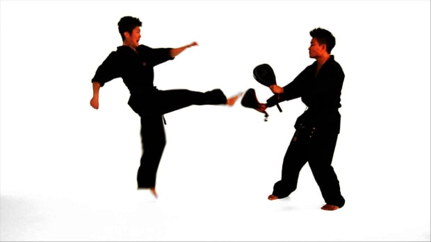 T. How to Do a Double Roundhouse Kick in Taekwondo Promo Image