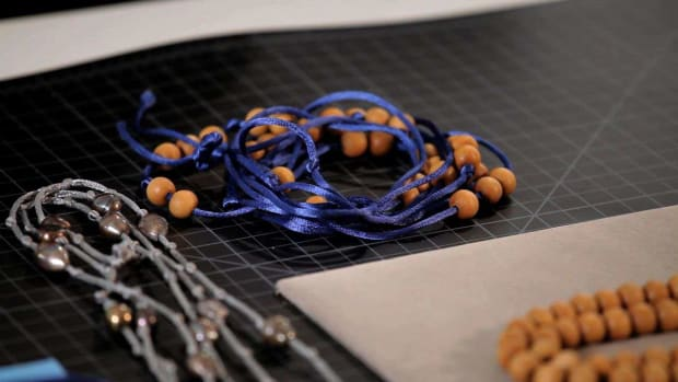 J. How to Make a Leather Rattail Necklace or Wrap Bracelet with Wood Beads Promo Image