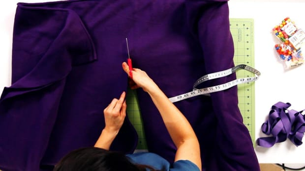 Q. How to Measure & Cut for a No-Sew Fleece & Ribbon Cape Promo Image