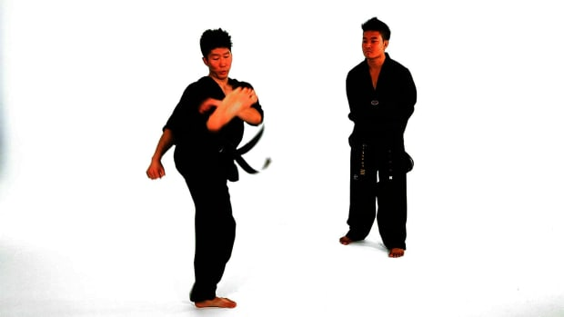 U. How to Do a Hop Step Double Roundhouse Kick in Taekwondo Promo Image