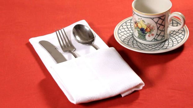 X. How to Fold Napkin into Single Pocket Fold Promo Image