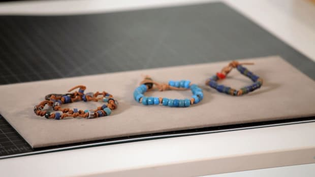 G. How to Make a Leather Bracelet with Trade Beads Promo Image