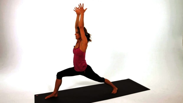 K. How to Do a Warrior One (Virabhadrasana I) Yoga Pose Promo Image
