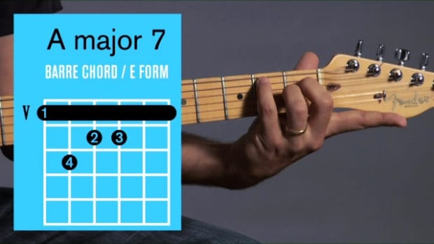 ZZZZZB. How to Play an A Major 7 Barre Chord on Guitar Promo Image