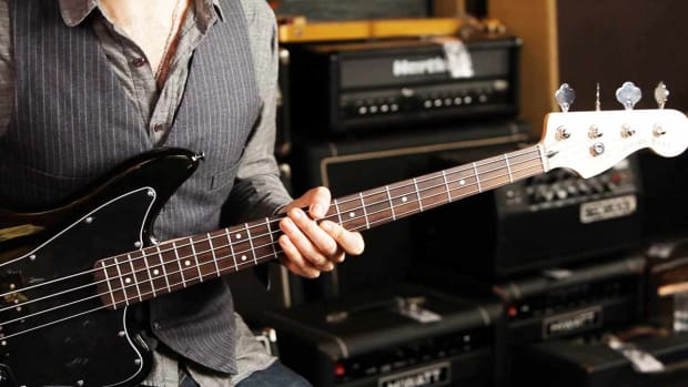 E. Fender Jaguar Bass Guitar Controls Promo Image