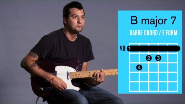 ZZZZZD. How to Play a B Major 7 Barre Chord on Guitar Promo Image