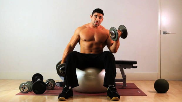 ZI. How to Do a Swiss Ball Seated Curl for an Arm Workout Promo Image
