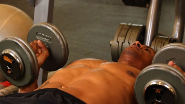 P. How to Do a Palms-In Dumbbell Bench Press Promo Image