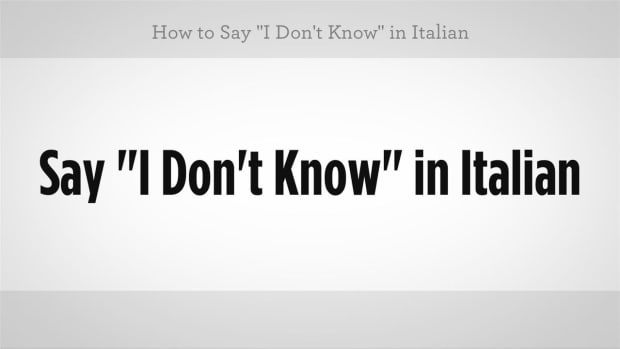 "ZV. How to Say ""I Don't Know"" in Italian Promo Image"