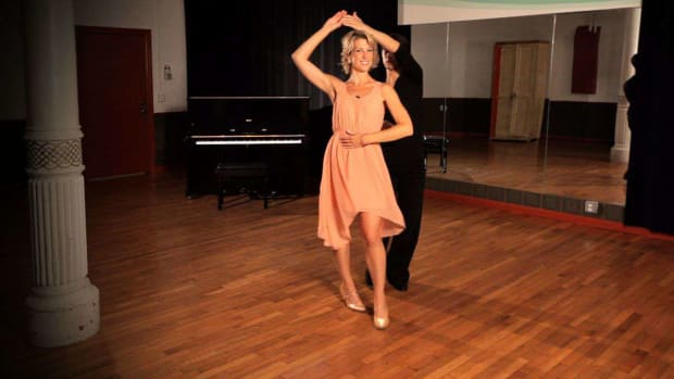 S. How to Do a Foxtrot Promenade Step with Ladies Underarm Turn Promo Image