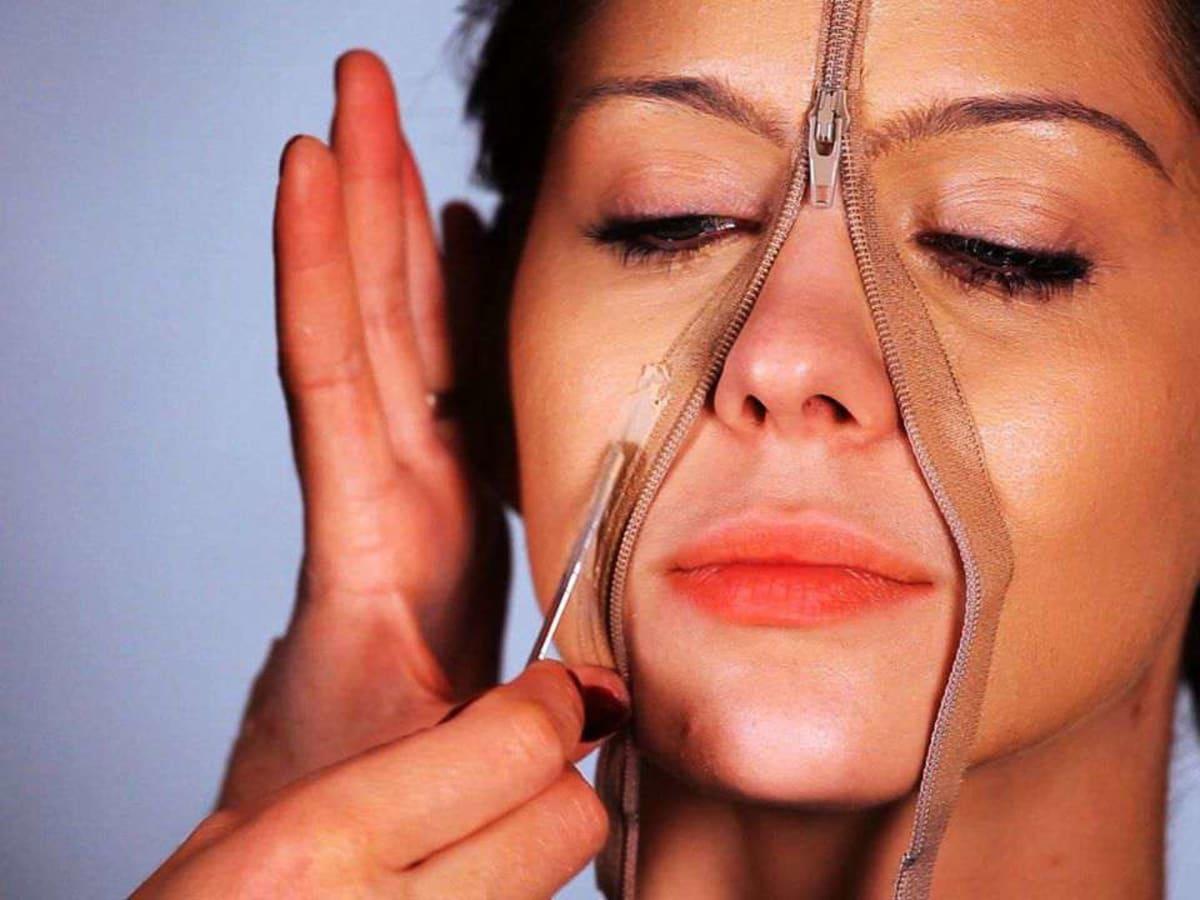 Special Fx Makeup Zipper Face Into Skin